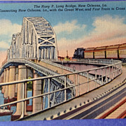 Vintage Huey P. Long Bridge New Orleans