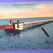 1945 Maestri Bridge Lake Ponchartrain New Orleans Louisiana Post Card