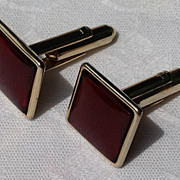 Vintage Ruby Red Gold Filled Cuff Links