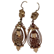 Victorian Style 14K Gold Dangle Earrings