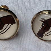 Vintage Reverse Painted Horse Head Earrings
