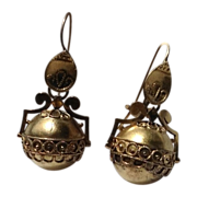 Victorian Etruscan Revival Dangle Orb Earrings