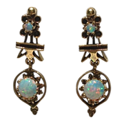 Vintage 14K Gold Cabochon Opal Dangle Earrings