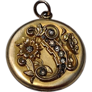 Art Nouveau Gold Filled Clear Paste Floral Motif Double Photo Locket