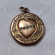 Victorian Rose Gold Filled  Heart Double Photo Locket