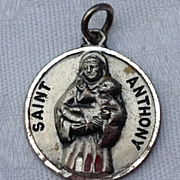 Vintage Sterling Silver Saint Anthony Medal