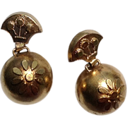 Victorian Etruscan Revival Vermeilel Dangle Orb Earrings