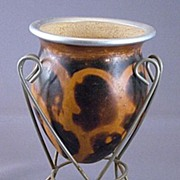 Decorative Art Gourd Vase in Stand