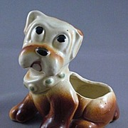 Vintage Ceramic Sad Eyes Dog Planter