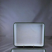 Pair of Green Enamelware Trays