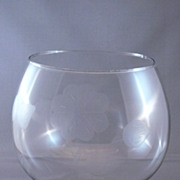 Vintage Smoked Glass Snifter With Etched Flowers