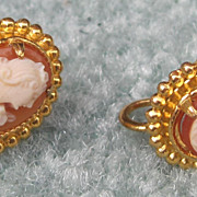 Gold Filled Shell Cameo Earrings