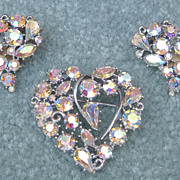 Lisner Aurora Borealis Heart Pin & Earrings