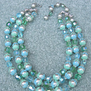 3 Strand Green Glass, Faux Pearl & Plastic Necklace