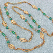 Golden Jade Lucite Necklace