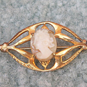 Vintage Amco Gold Filled Cameo Pin