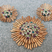 Colorful Marboux Pin & Earrings