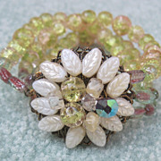 3 Strand Green Crackle Glass Bracelet