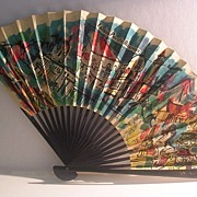 Cathay Pacific Airways Paper Advertising Fan -- An Asian Montage