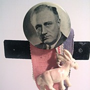 FDR Button with Figural White Donkey and 3 Strands of Ribbon