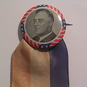 FDR Button Encircled By White and Red Stripes, Blue Stars With A Tri-Color Ribbon