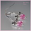 Holiday~ Rose Swarovski Bow Earrings