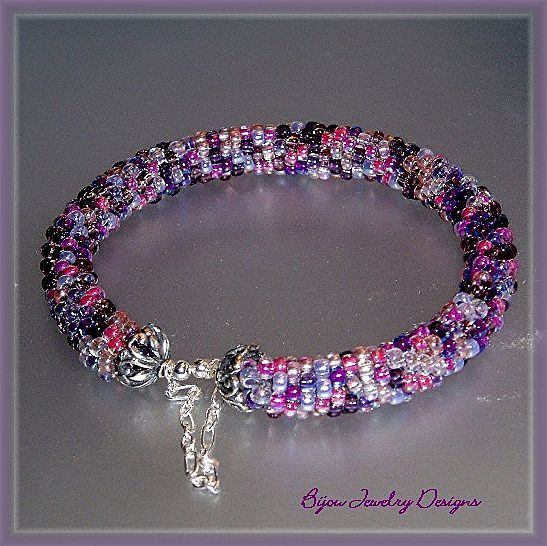 Jewel Tones~ Bead Crochet Bangle Bracelet