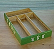 Kitchen Ware: Green Painted  Wood Utensil Box