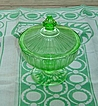 Hazel Atlas:  Green Ribbon Candy Dish
