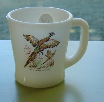 Fire King:  Pheasant D-handle Mug