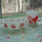 SALE Pyrex: Kiddie White with Red Graphics  Circus Mug and Bowl