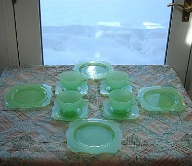 New Martinsville: Fancy Square Jadite  Dessert Set - 12 Pieces