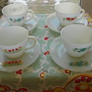 SOLD Fire King:  Premium Cups and Saucers