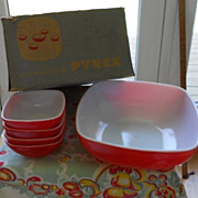 Pyrex:  Red Hostess Oven and Table Set