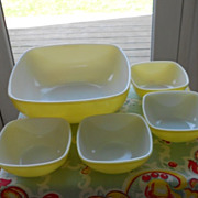 Pyrex:  Yellow Hostess Oven and Table Set