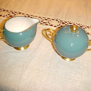 "Flintridge China Cream and Covered Sugar Bowl ""California"" Teal Green with Gold Rim"