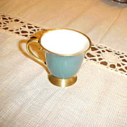 "Flintridge China Demi Tasse Cup  ""California"" Teal Green with Gold Rim"