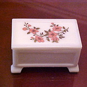 Early Westmoreland Milk Glass Lidded Box w/Hand Painted Flowers