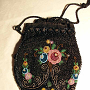 SALE Lovely  Beaded Purse Pompadour ca. 1900 Hand Made