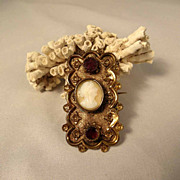 Amazing Old Piece Brooch Garnets and Shell Cameo Victorian Era