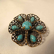 Brooch  Filigree Mount  and Faux Turquoises