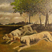 SALE Running Chase Dogs � Oil painting ca. 1920