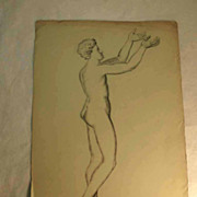 19th Century French Pencil Drawing Man Nude Artist Signed