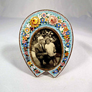 SALE Micro Mosaic Table Top Frame Hoof Shape ca. 1880