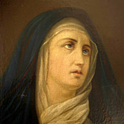 Excellent Religious Painting  Mater Dolorosa Virgin 19th Century