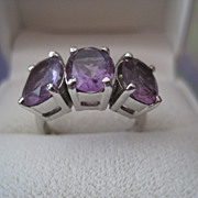 SALE Vintage Amethyst Sterling 3 Stone Ring Fabulous!