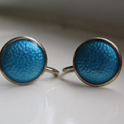 SALE Vintage Blue Guilloche Enamel Earrings Screw Back