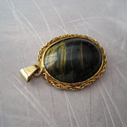 SALE 14K Yellow Gold Tiger Eye Pendant Fine
