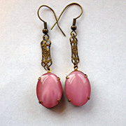 Vintage Pink Czech Glass & Brass Dangle Earrings