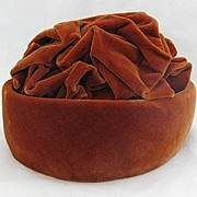 Vintage Irene of New York Rust Velvet Cloche Ladies Hat